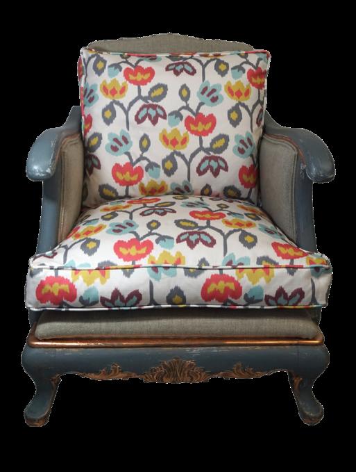 duży fotel w kwiatki