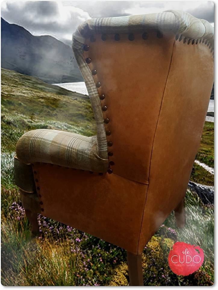 fotel, duży, skóra, wełna, wool, alecudo, moon