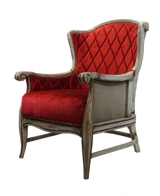 pikowany czerwony duży fotel