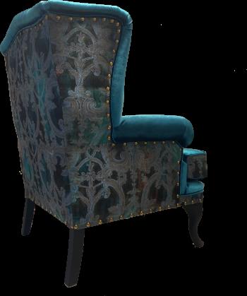 szafirowy fotel